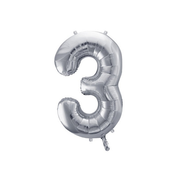Foil Balloon Number 3, 86cm, silver