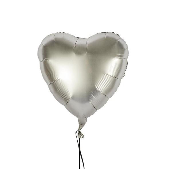 Folienballon in Herzform Farbe Platin satin in der Größe 43 cm Liebe