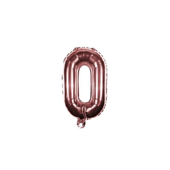 Folienballon Zahl 0 Ziffer Null rosé-gold 35cm