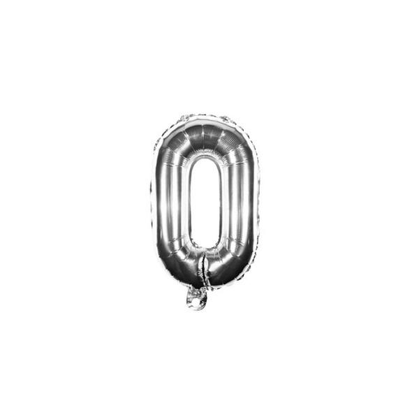 Folienballon Zahl 0 Ziffer Null silber 35cm