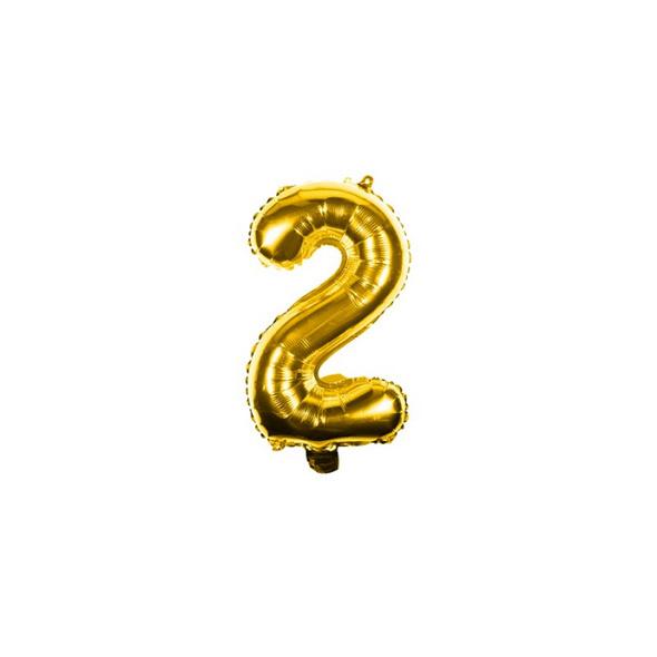 Folienballon Zahl 2 Ziffer Zwei gold 35cm