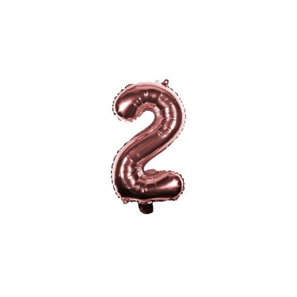Folienballon Zahl 2 Ziffer Zwei rosé-gold 35cm