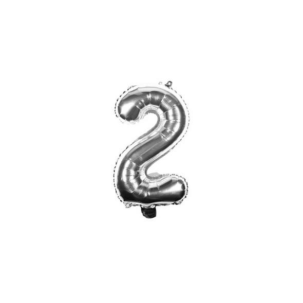 Folienballon Zahl 2 Ziffer Zwei silber 35cm