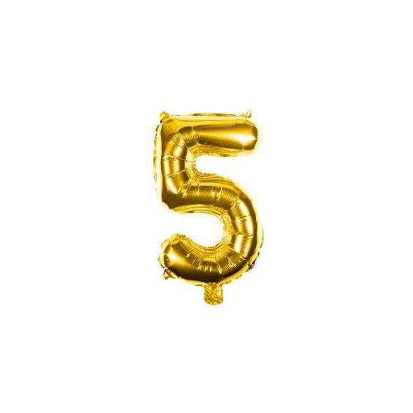 Folienballon Zahl 5 Ziffer Fünf gold 35cm