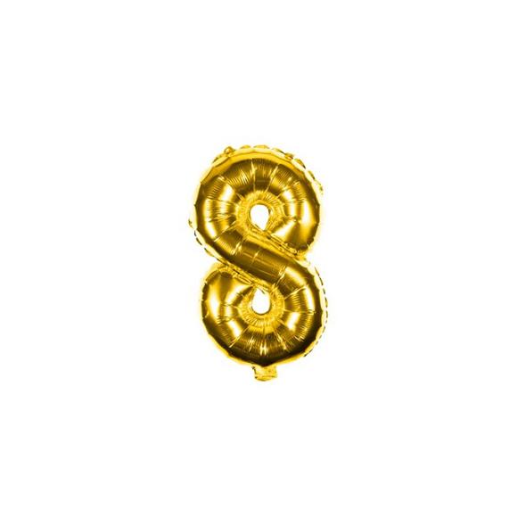 Folienballon Zahl 8 Ziffer Acht gold 35cm