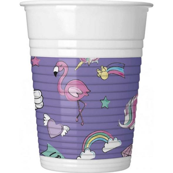 Minnie Einhorn 8 Plastic Cups 200ml