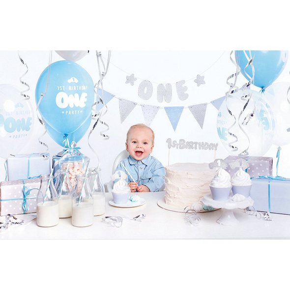 Party decorations set - 1st Birthday. silver