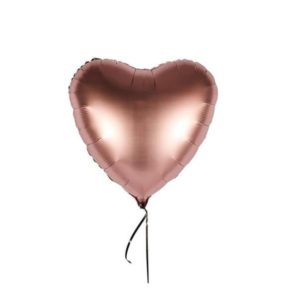 Romantischer Folienballon in Herzform Farbe Kupfer rosé Satin in der Größe 43 cm