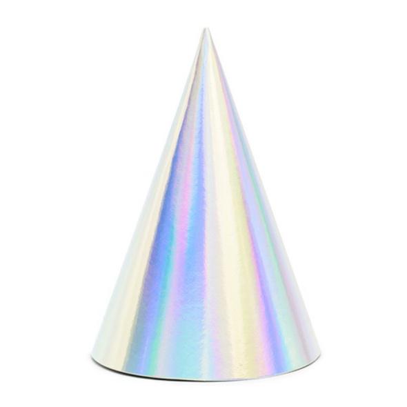 Set mit 6 Partyhüten mit schillerndem Hologramm-Effekt