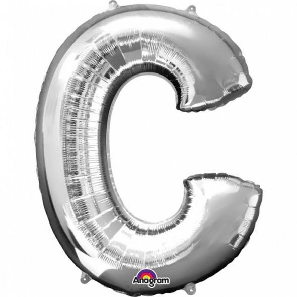 SuperShape Buchstabe C Silber Folienballon L34 verpackt 63cm x 81cm