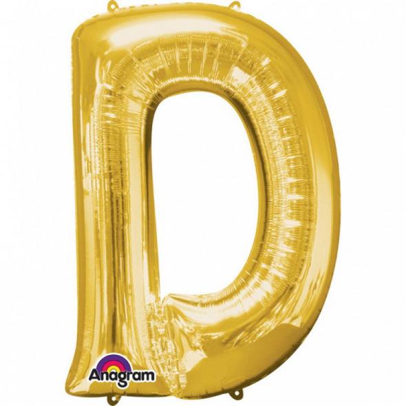 SuperShape Buchstabe D Gold Folienballon L34 verpackt 60cm x 83cm
