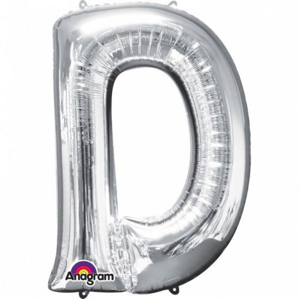 SuperShape Buchstabe D Silber Folienballon L34 verpackt 60cm x 83cm