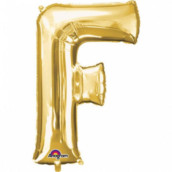 SuperShape Buchstabe F Gold Folienballon L34 verpackt 53cm x 81cm