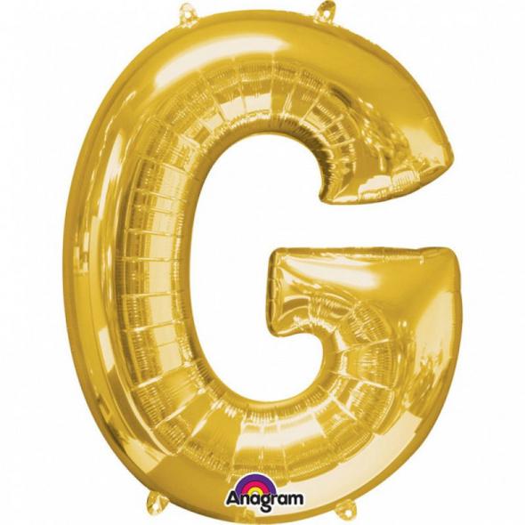 SuperShape Buchstabe G Gold Folienballon L34 verpackt 63cm x 81cm