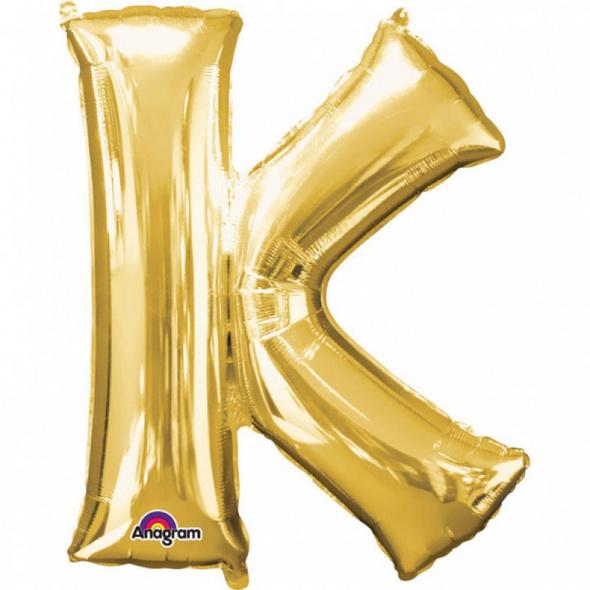 SuperShape Buchstabe K Gold Folienballon L34 verpackt 66cm x 83cm