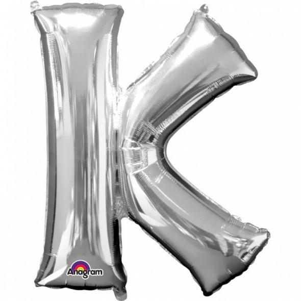 SuperShape Buchstabe K Silber Folienballon L34 verpackt 66cm x 83cm