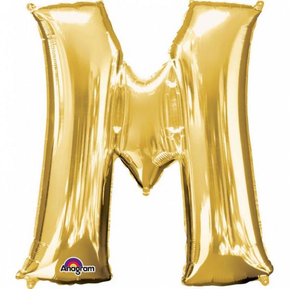 SuperShape Buchstabe M Gold Folienballon L34 verpackt 81cm x 83cm