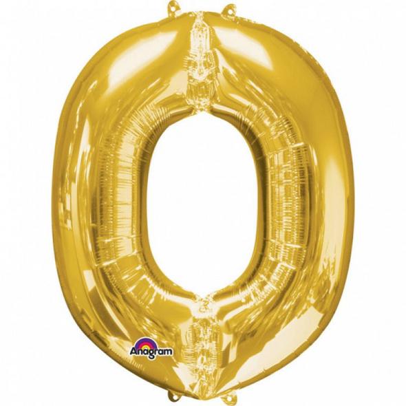 SuperShape Buchstabe O Gold Folienballon L34 verpackt 66cm x 83cm