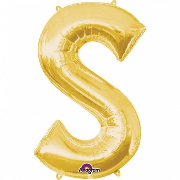 SuperShape Buchstabe S Gold Folienballon L34 verpackt 53cm x 88cm