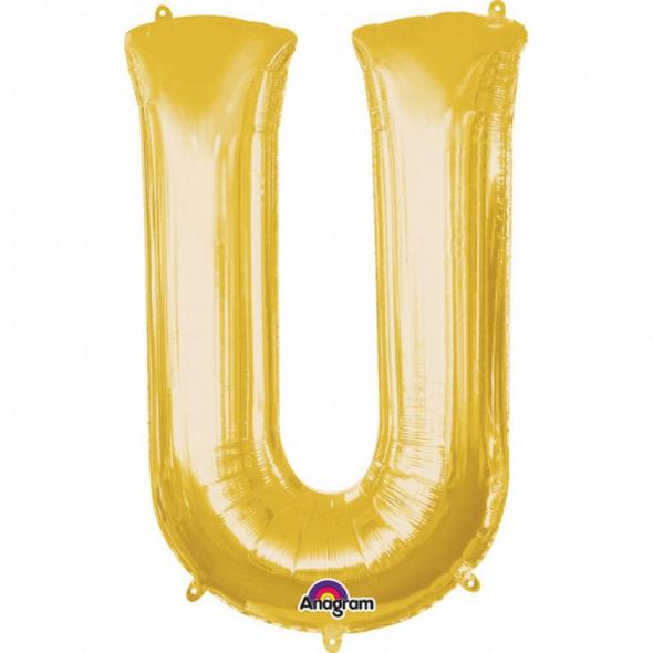 SuperShape Buchstabe U Gold Folienballon L34 verpackt 58cm x 83cm