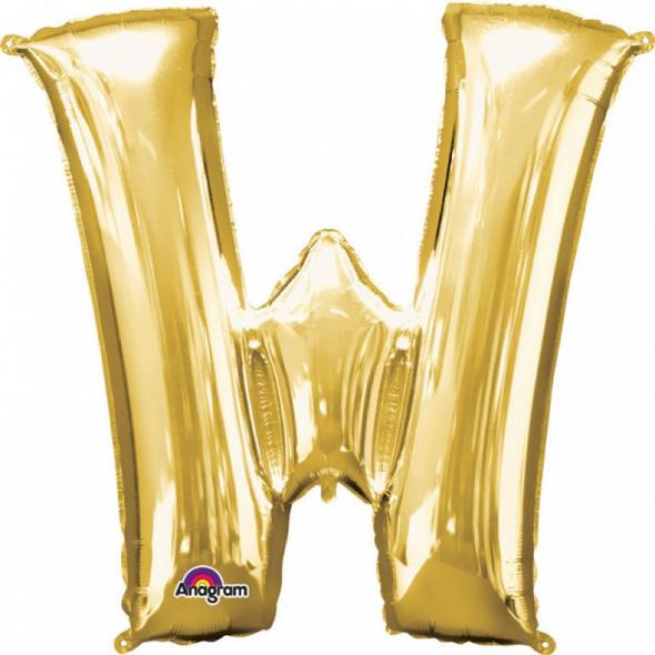 SuperShape Buchstabe W Gold Folienballon L34 verpackt 71cm x 83cm