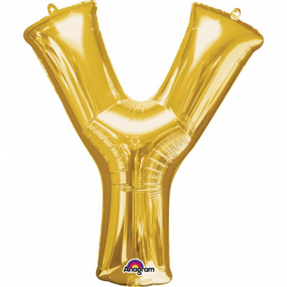 SuperShape Buchstabe Y Gold Folienballon L34 verpackt 76cm x 86cm