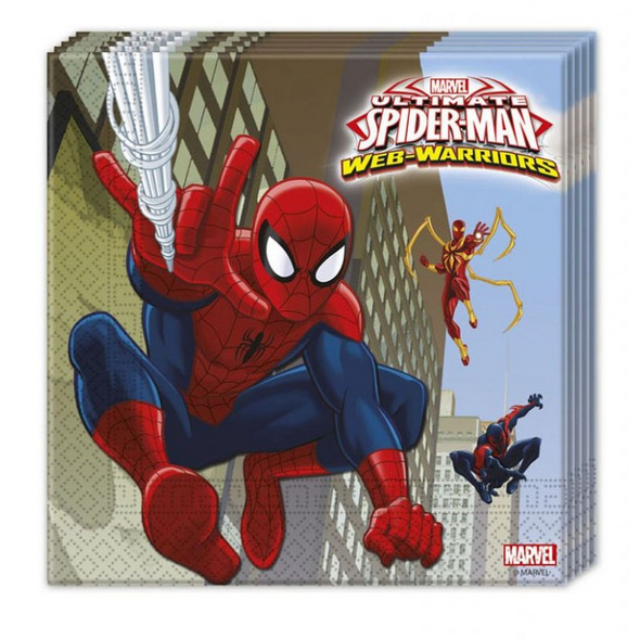 Ultimate Spiderman Web Warriors 20 Two-Ply Paper Napkins 33x33cm