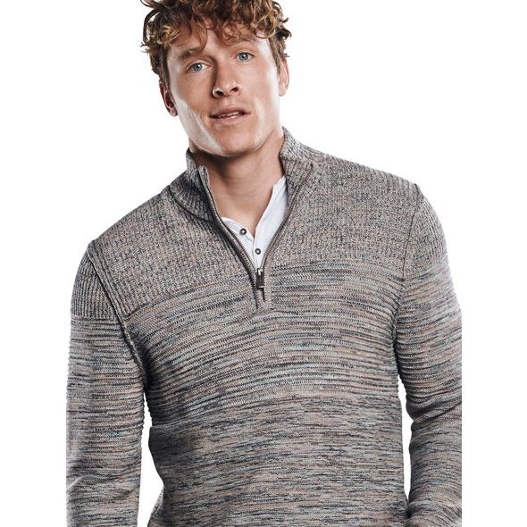 Mehrfarbiger Pullover mit Polokragen