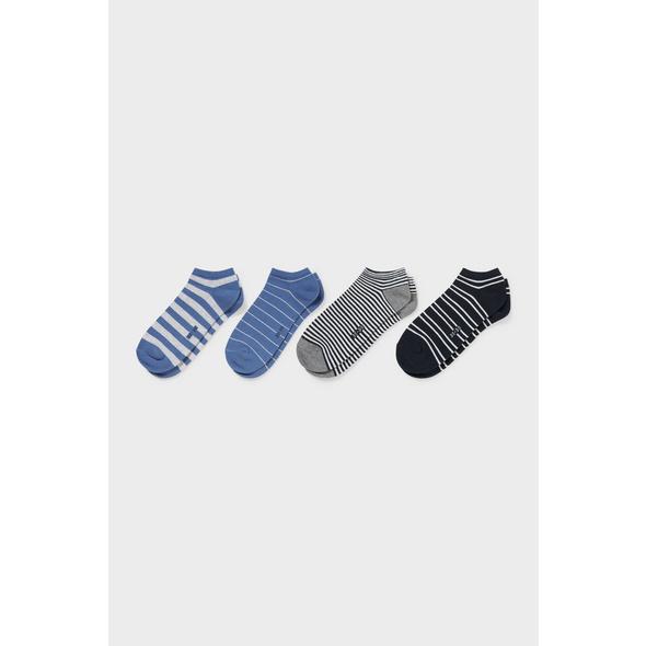 Sneakersocken - Bio-Baumwolle - 4er Pack - gestreift